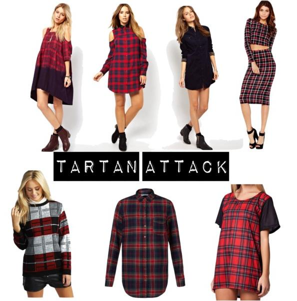 BLACKMILKCLOTHING.COM Tartan Red Boyfriend Tee, £15 NEWLOOK.COM Red Tartan Check Shirt, £15 VERY.CO.UK Glamorous Long Sleeve Tartan Crop Top, £23 BOOHOO.COM Boohoo Arianna Tartan Check Jumper, £41 ASOS.COM ASOS CURVE Exclusive Shirt Dress In Tartan Check With Cold Shoulder, £43 ASOS.COM ASOS Cold Shoulder Dress In Tartan With Dip Dye, £80 ASOS.COM  Barbour Cord Shirt Dress With Tartan Trim